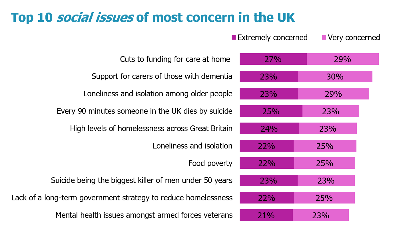 Top 10 social issues of most concern in the UK
