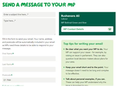 Macmillan's email template for supporters to send to their MP