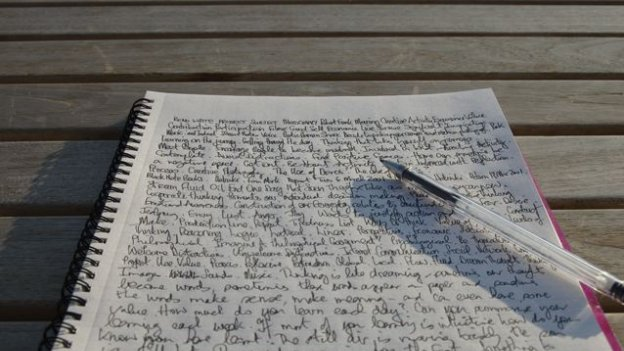 page of writing, complete with pen