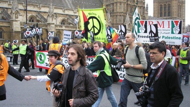 picture of demonstration at Westminster