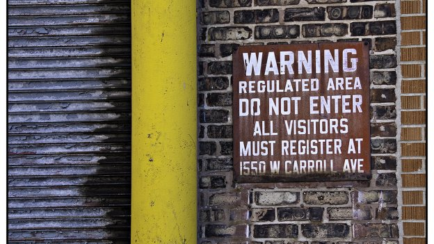 Photo of sign saying Regulated Area