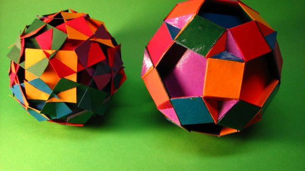 Two mulitcoloured rhombidodecahedrons