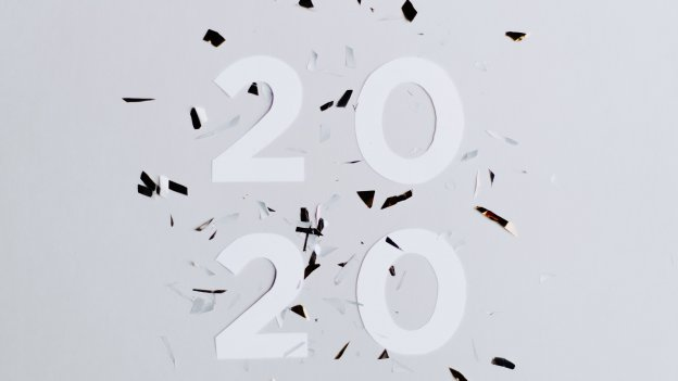 2020 cut-out text with confetti