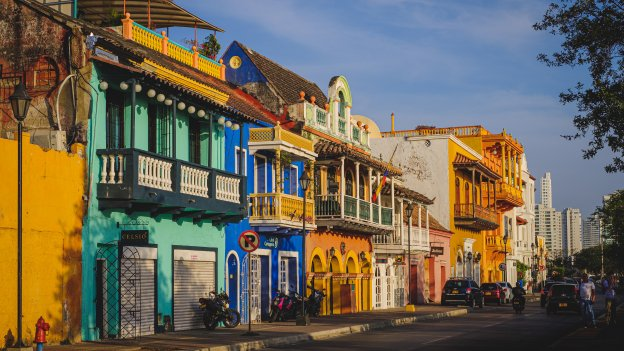 Colourful painted buildings in a street in Cartagena