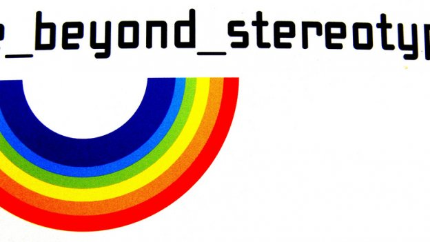 Image of upside down rainbow with the text reading 'life beyond stereotypes'