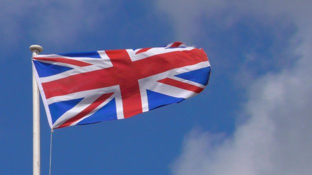 Union Jack against blue sky