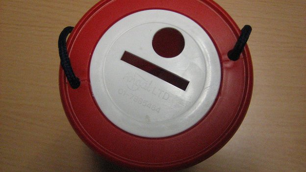 Aerial view of a charity collection box