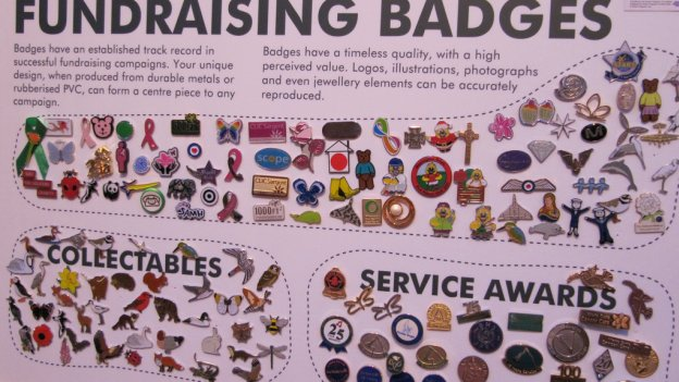 Collection of fundraising badges
